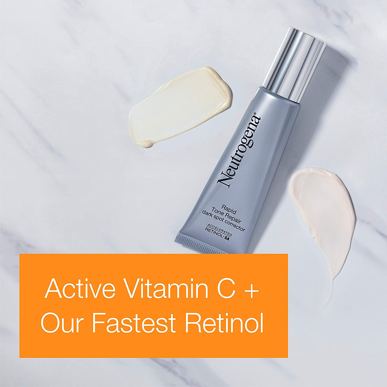 Neutrogena Rapid Tone Repair Dark Spot Corrector Face Serum with Hyaluronic Acid, Retinol & Vitamin C, Daily Anti Wrinkle Retinol Serum & Dark Spot Corrector to Brighten & Even Tone, 1 oz: Beauty