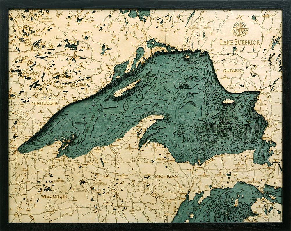 Lake Superior 3-D Nautical Wood Chart, 24.5'' x 31''