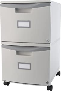Storex Plastic 2-Drawer Mobile File Cabinet, Letter/Legal, Gray