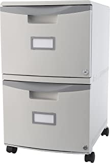 Storex 2 Drawer Mobile File Cabinet With Lock, 18.25 X 14.75 X 26 Inches