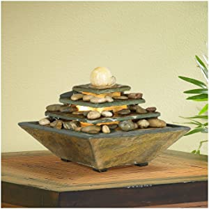 """John Timberland Four Tiers Feng Shui Zen Indoor Table-Top Water Fountain with Light LED 9"""" High for Table Desk Home Office Bedroom"""