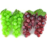 SAMYO 4 Bunches of Artificial Green & Purple Grape Cluster Simulation Fake Fruit Home House Kitchen Party Decoration Lifelike