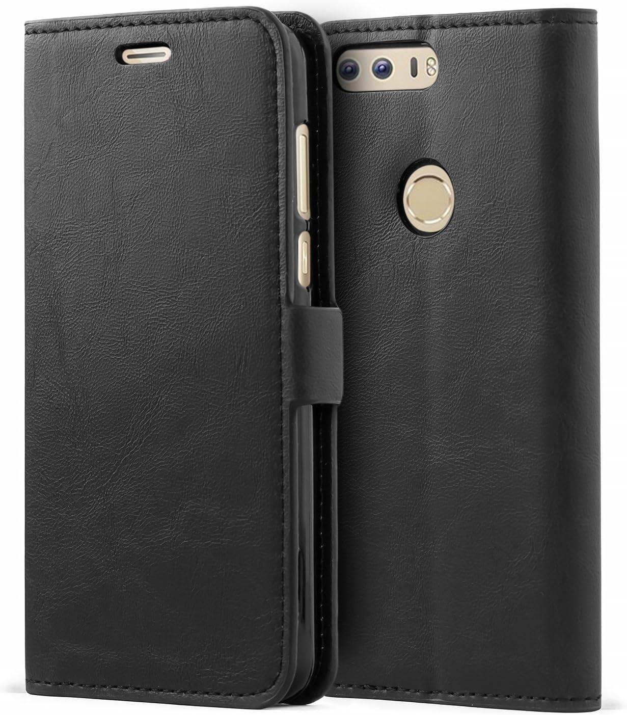 Mulbess Funda Honor 8 [Libro Caso Cubierta] [Bookstyle de Billetera Cuero] con Tapa Magnética Carcasa para Huawei Honor 8 Case, Negro