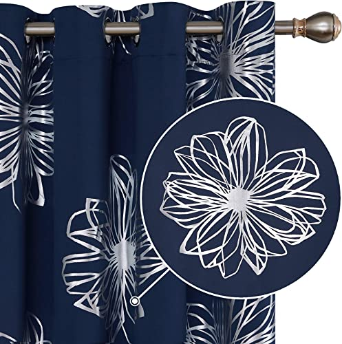 Deconovo Flower Design Foil Printed Grommet Thermal Insulated Window Panels Blackout Curtains Light Blocking Room Darkening Noise Reducing Drapes for Kidsroom 52×84 Inch Navy Blue 1 Pair