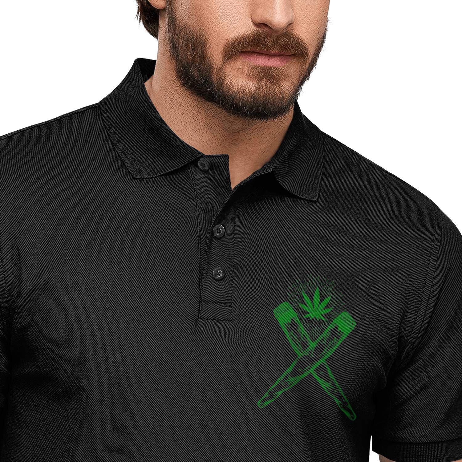 WYFEN Mens Printed Polo Shirt Green Weed cannbis Casual Short Sleeve Tee