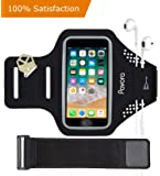 """Phone Armband, Pavora iPhone Armband for iPhone 8 Plus 7 Plus, 6 6S Plus, Water Resistant Fingerprint Access Card Holder, Free 6"""" Extender fit arm size 10""""-21"""", Fits 5.2""""-5.8"""" smart phone (Black 6.0"""")"""