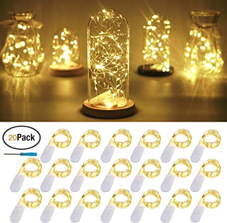 20LED 6.6ft Battery Operated Christmas Fairy Warm White Decoration String Lights