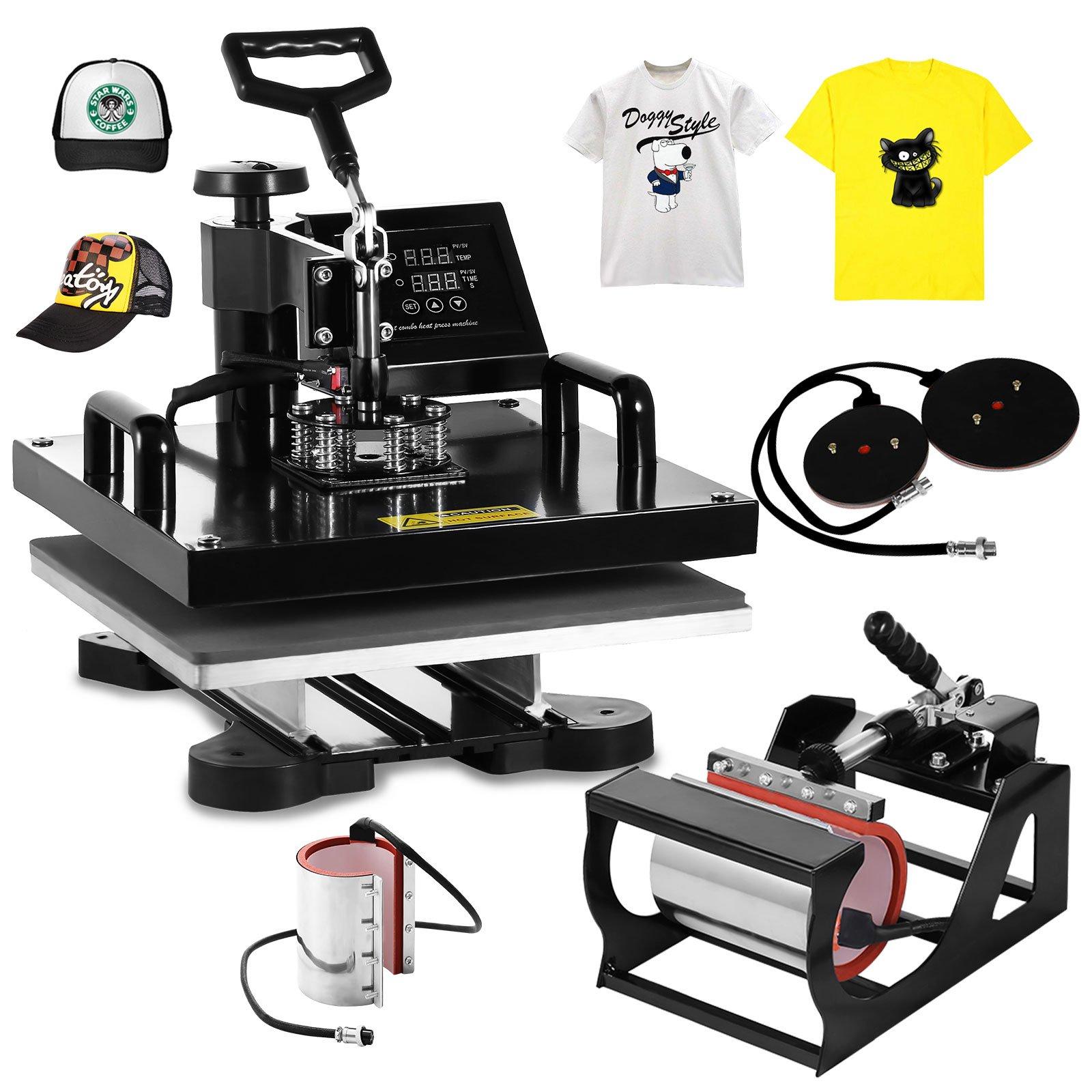 Mophorn Heat Press 38x38CM Heat Plate with 6PCS Heat Press Items Hot Iron T Shirt Heat Prsees Machine Mug Press Kit for Family DIY (6pcs 15X15 Presser)