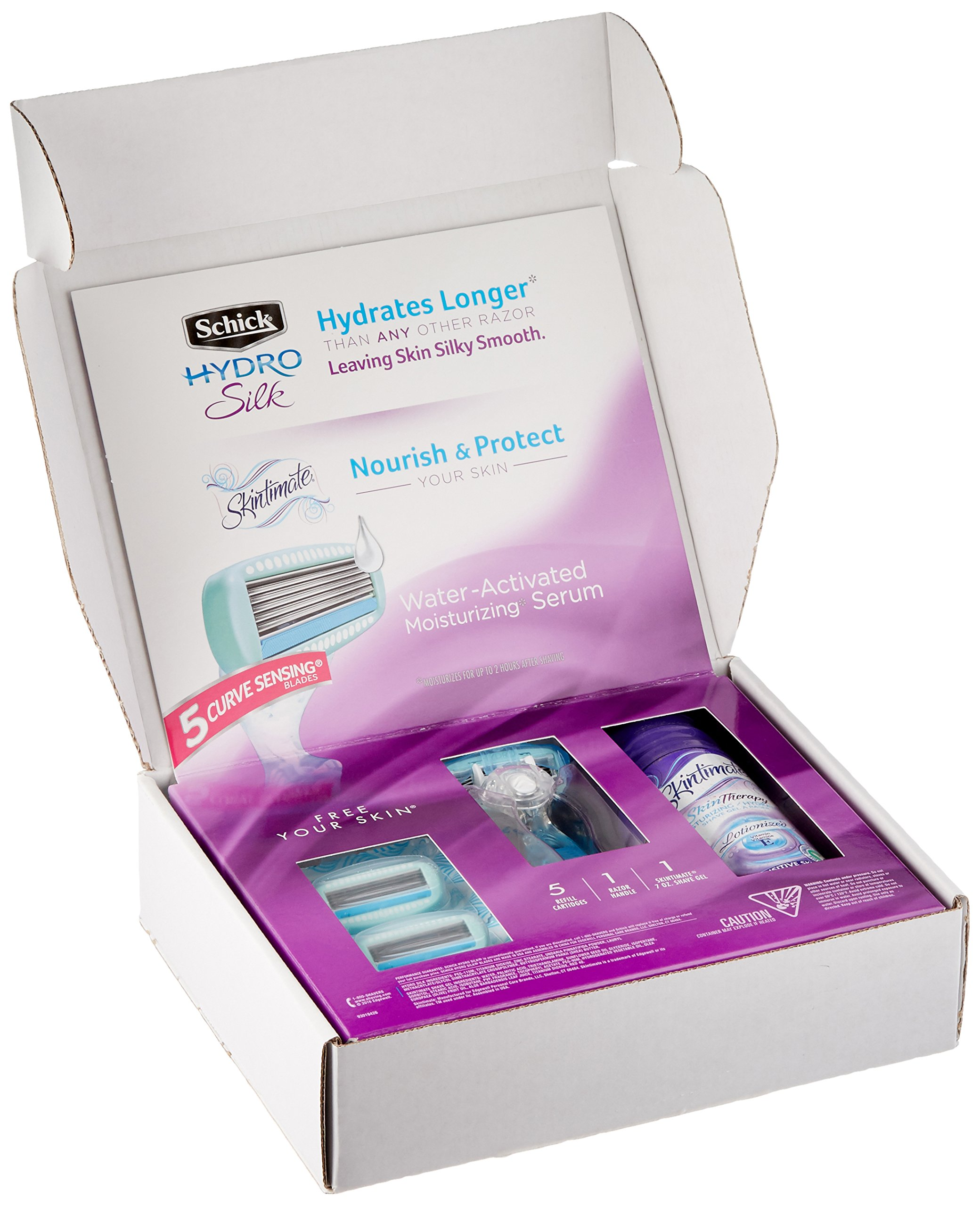 Schick Hydro Silk Shaving Starter Gift Set for Women with Shower Ready Razor Refill Blades and Skintimate Skin Therapy Shave Gel for Sensitive Skin by Schick (Image #7)