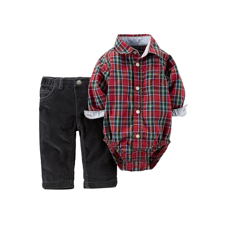 508cf9cc7 Amazon.com: Carters Baby Boys Plaid Bodysuit & Corduroy Pants Set Red 3M:  Clothing