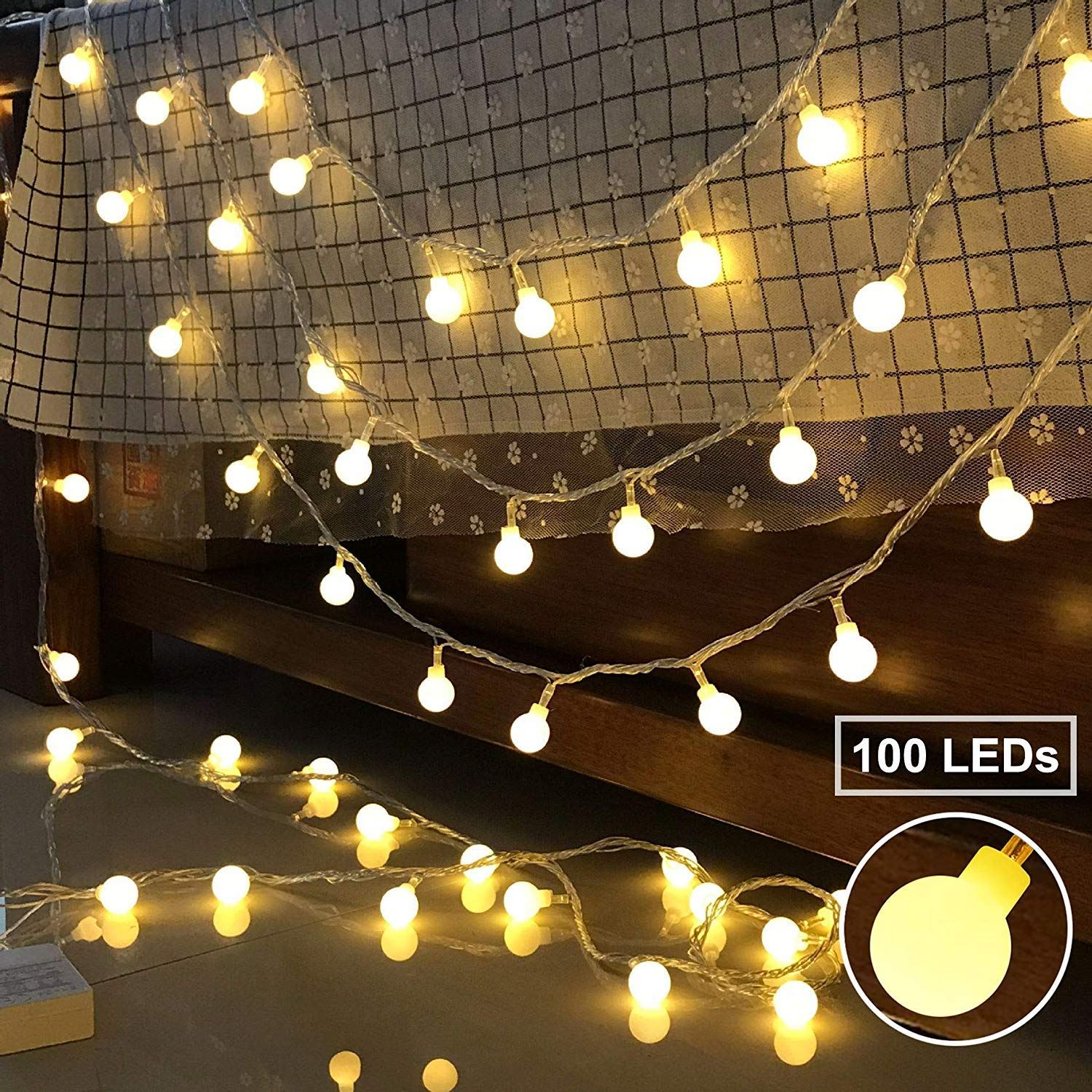 BeauFlw Globe String Lights 100 LED 10M,Waterproof Indoor String Lights with Remote Plug for Bedroom Garden Party Outdoor Decorations (Warm White)