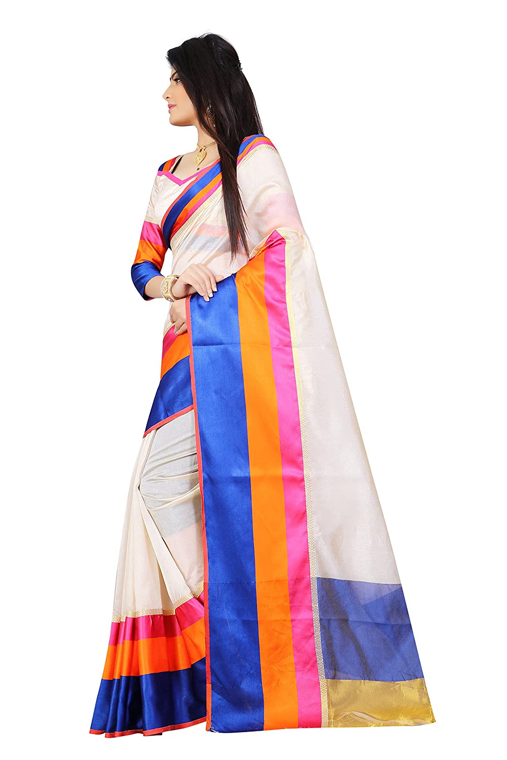 9eaf157f59 Sarees(Saree By Megha Designer Cream Colored Cotton Silk Saree with Blouse):  Amazon.in: Clothing & Accessories
