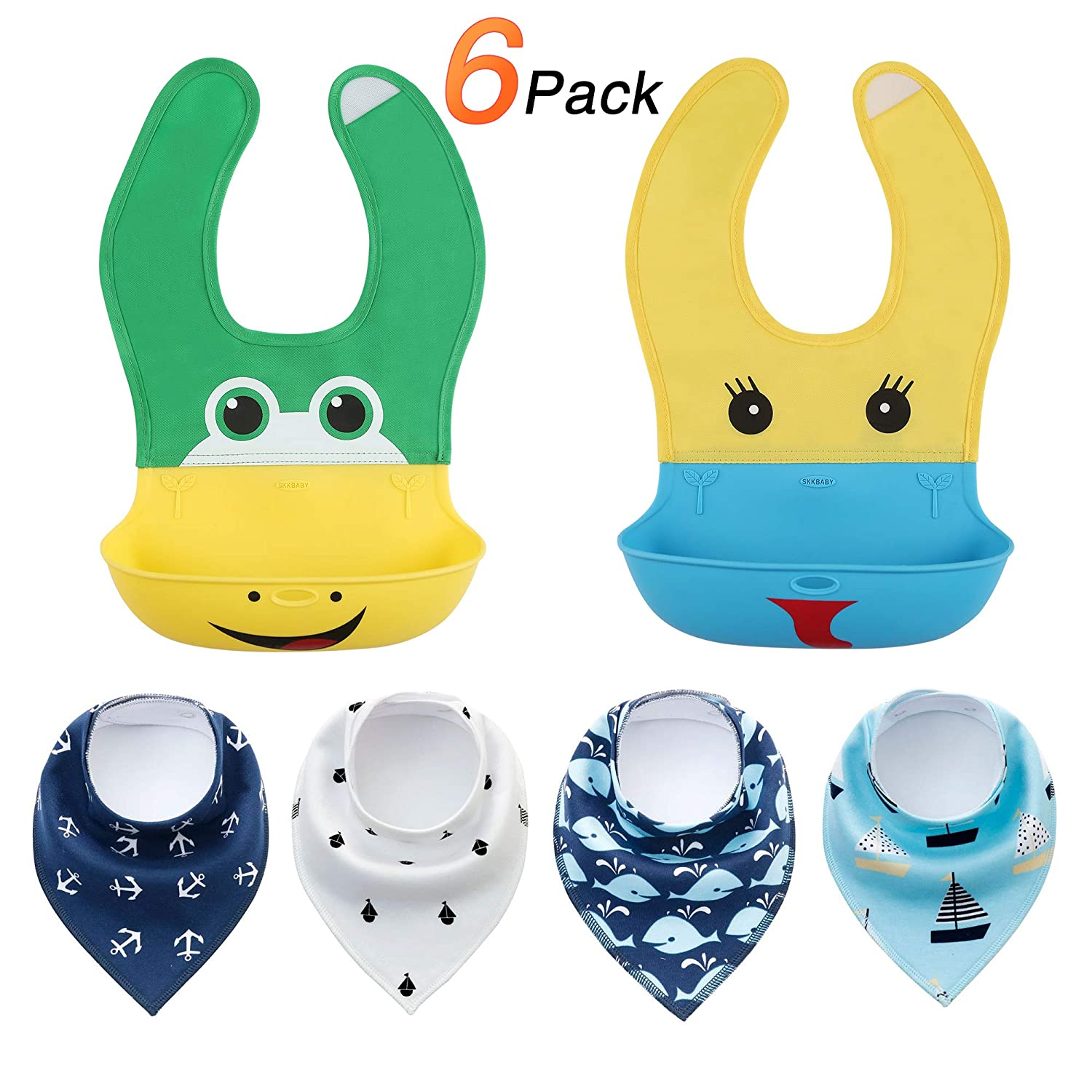 Waterproof Silicone Bibs for Babies & Toddlers (2 PCS)- Quick and Easy to Clean, Unisex Super Absorbent, Soft, Chic Organic Drool and Teething Bibs (4 PCS) NEXTAMZ HT-BIBS