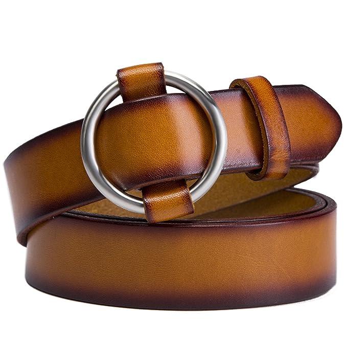 KQueenStar Cinturones Para Mujer Cinturón De Mujeres Con Hebilla Cuero ( Marrón 72d4573fd8c0