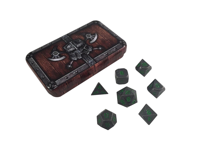使い勝手の良い スカルスプリッタDice – Dwarven inパック) Chest with withボックス rackne )ダイスセット( 's Curse |ガンメタルグレーとグリーンNumbers – ソリッドメタルPolyhedral Role Playing Game ( RPG )ダイスセット( 7 Die inパック) withボックス B06XNZ5ZLJ, 豊富町:b08cadeb --- ciadaterra.com