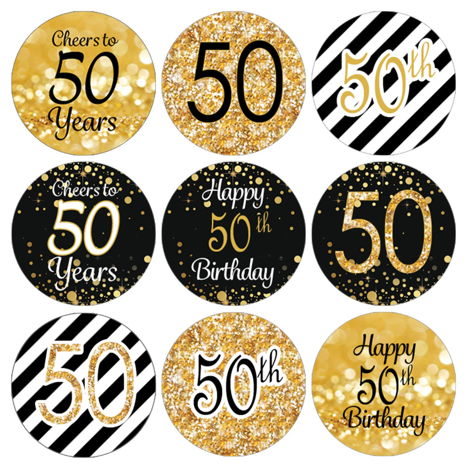 Amazon Black And Gold 50th Birthday Party Favor Labels