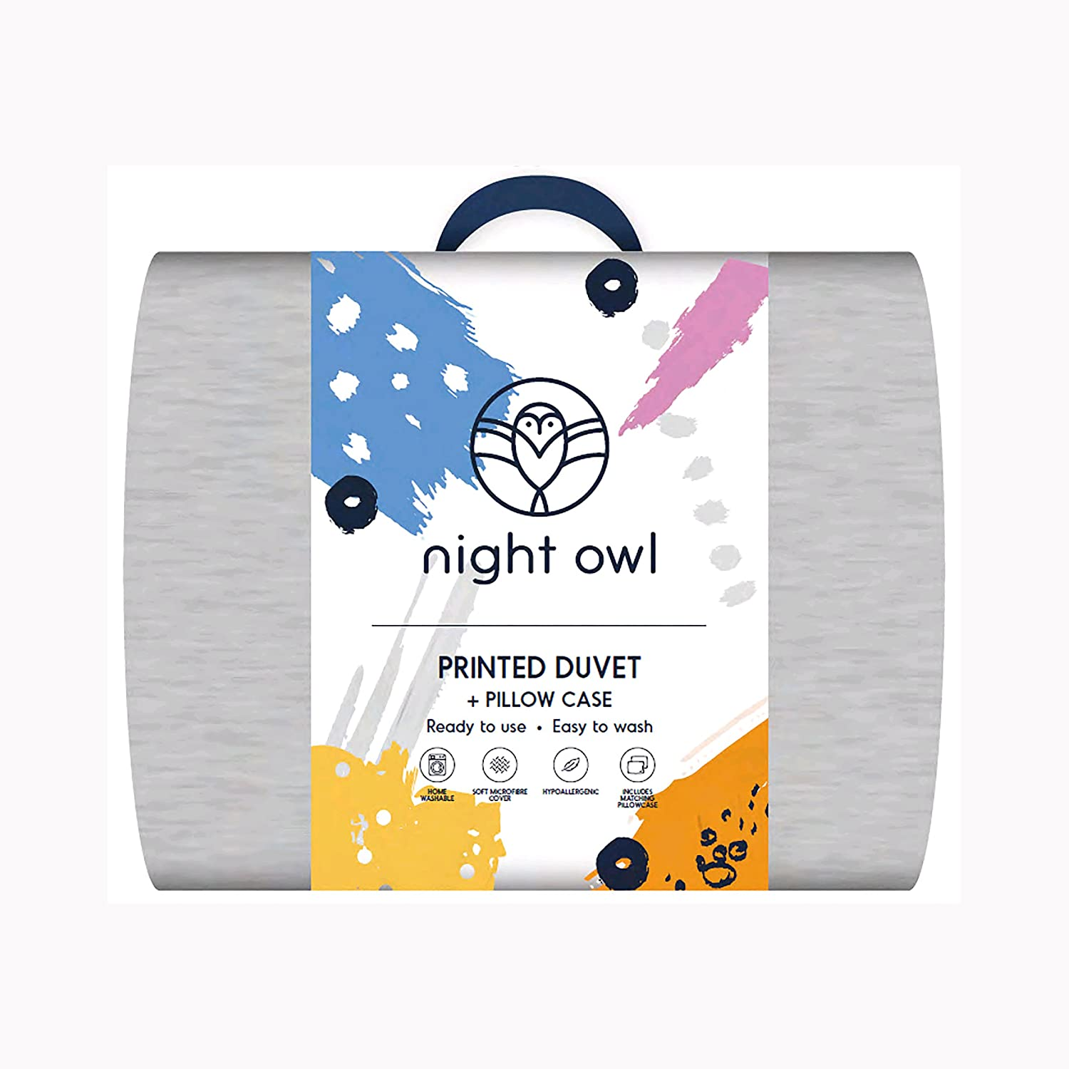 Night Owl Duvet Ready To Use - Compact Camping Sleepover Spare Room Kids Duvet (Blue, Double) The Fine Bedding Company