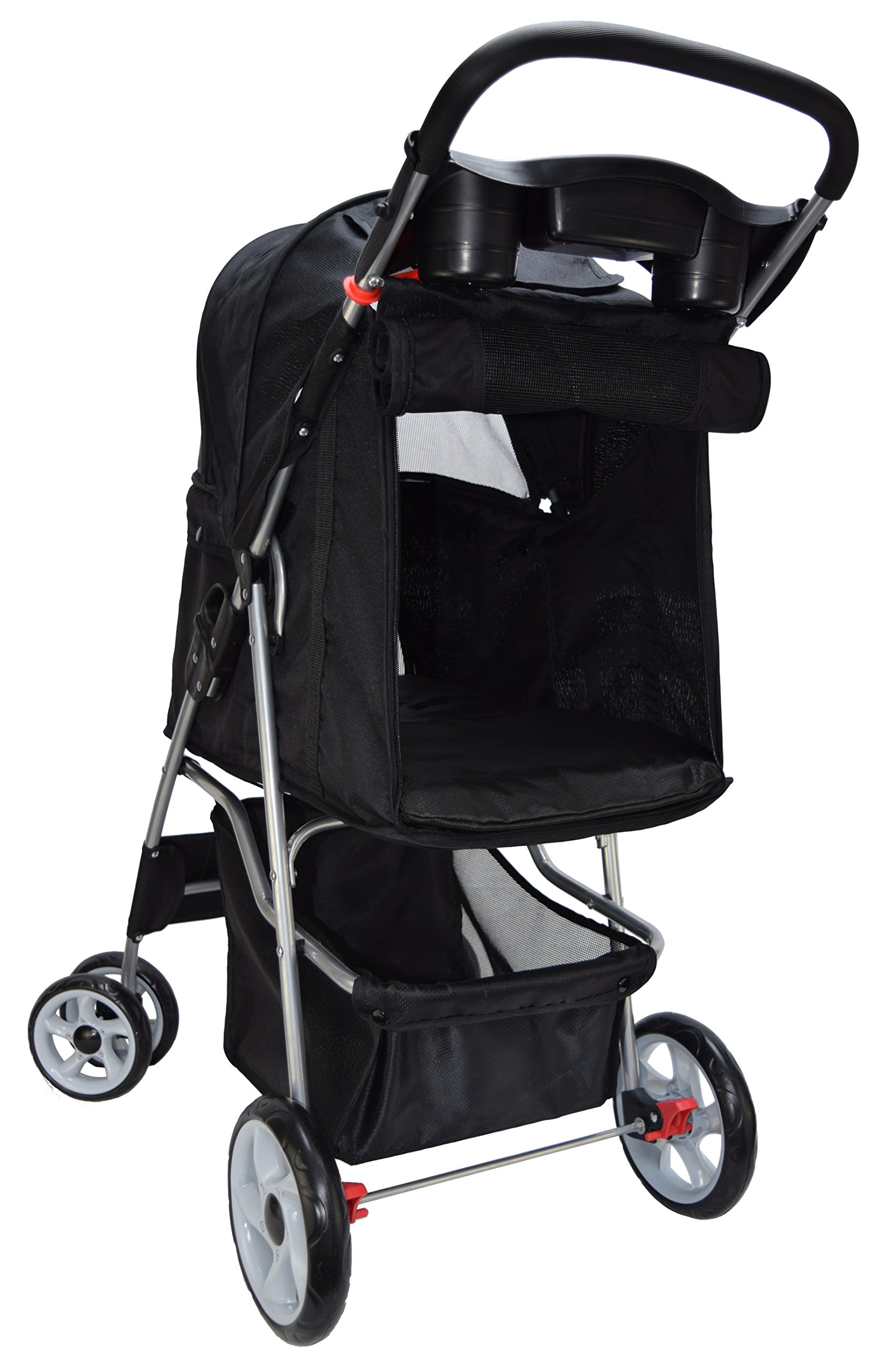 VIVO Four Wheel Pet Stroller, for Cat, Dog and More, Foldable Carrier Strolling Cart, Multiple Colors (Black) by VIVO (Image #10)