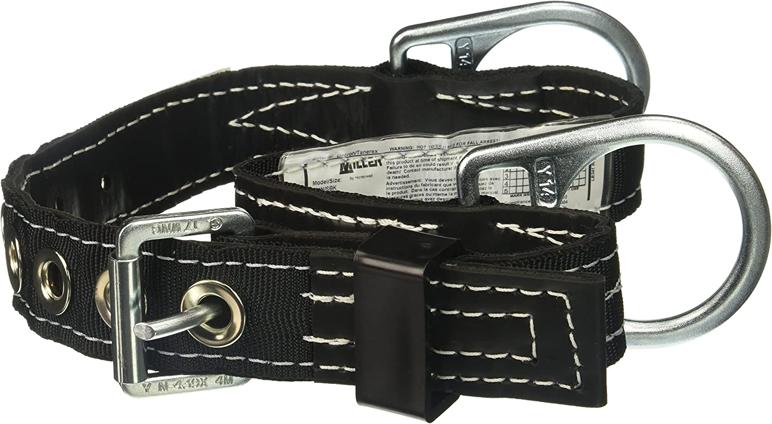 Miller by Honeywell 124N//MBK Double D-Ring Lined Body Belt with 1-3//4-Inch Webbing Black Honeywell Safety Products USA Medium