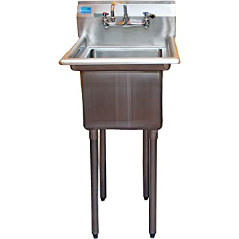 amgood commercial stainless steel sink 1 compartment restaurant kitchen prep utility sink with 10 - Stainless Utility Sink