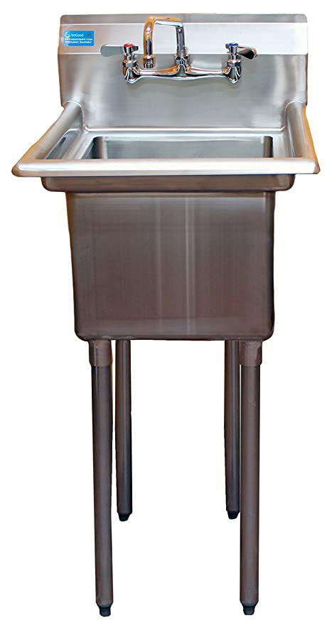 AmGood Commercial Stainless Steel Sink   1 Compartment Restaurant Kitchen  Prep U0026 Utility Sink With 10u0026quot