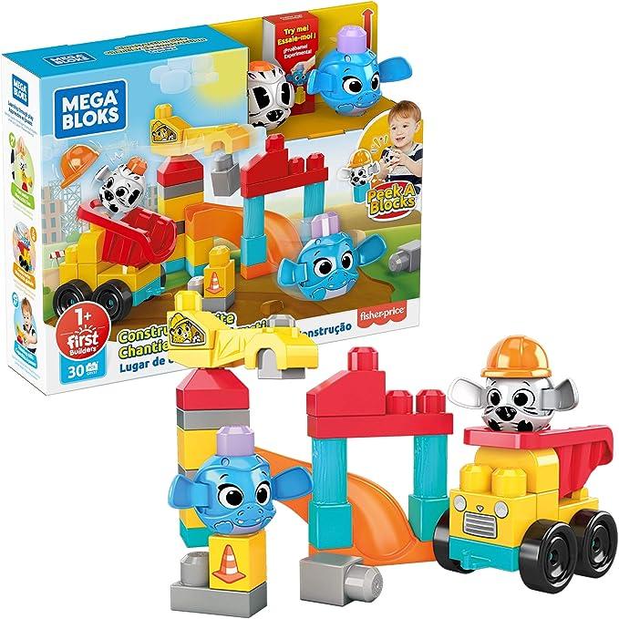 Building Toys for Toddlers Mega Bloks Peek A Blocks Construction Site 30 Pieces