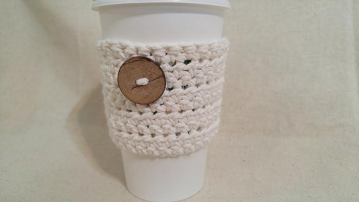 Amazoncom Crochet Coffee Cozy Coffee Sleeve Ecru With Wood