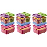 Rubbermaid Lunch Blox Kid's Tall Lunch Box Kit, Purple/Pink/Green (Pack of 3)