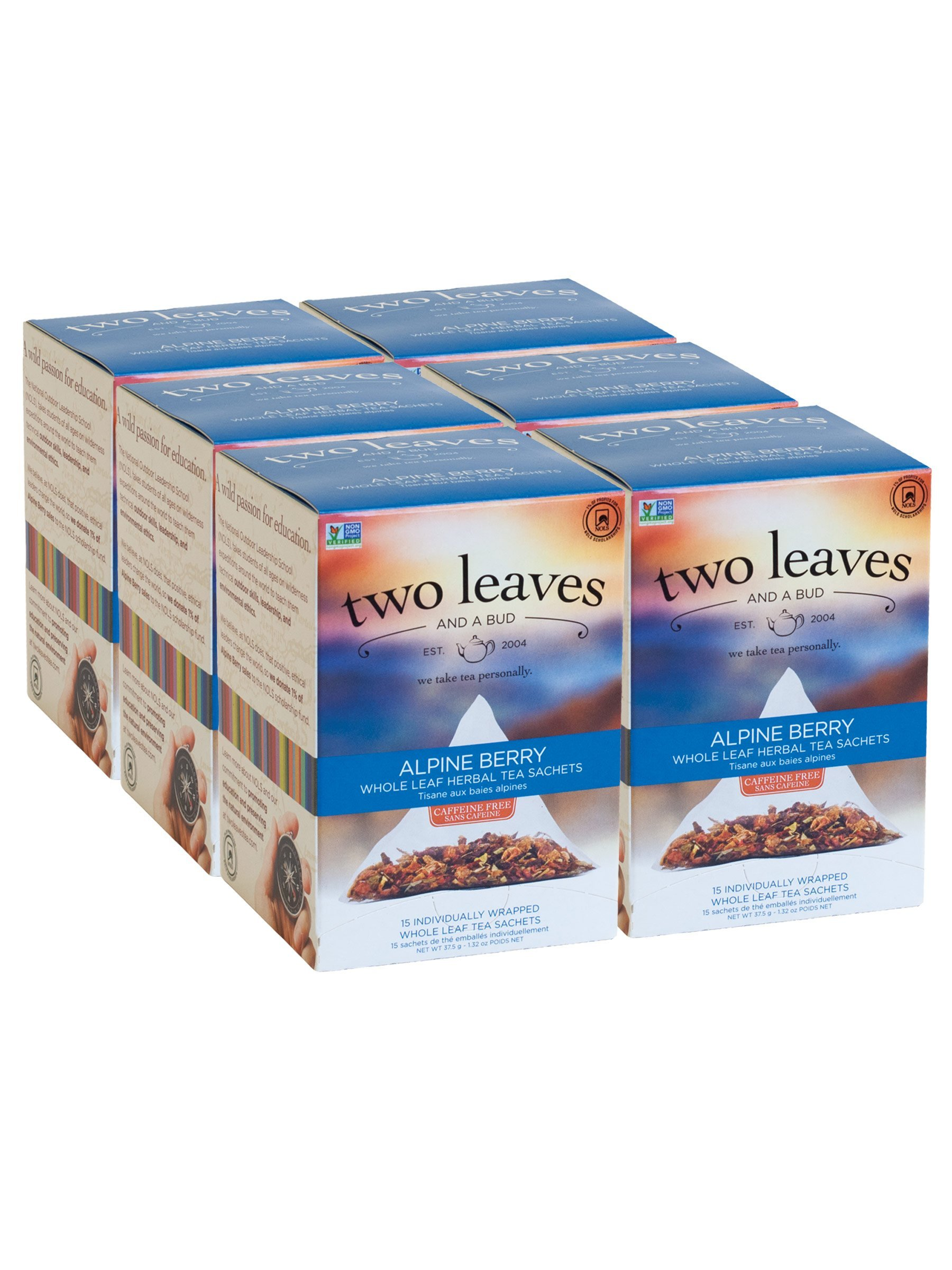 Two Leaves and a Bud Alpine Berry Herbal Tea, 15 Count (Pack of 6)