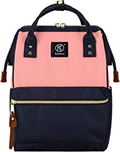 Kah&Kee Polyester Travel Backpack Functional Anti-theft School Laptop for Women Men (Pink Navy, Small)