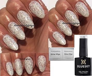 White Glitter Nails Gel Nailstip
