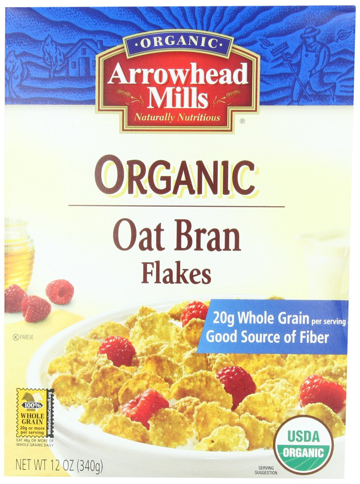 Arrowhead Mills Organic Cereal, Oat Bran Flakes, 12 oz. (Pack of 4)