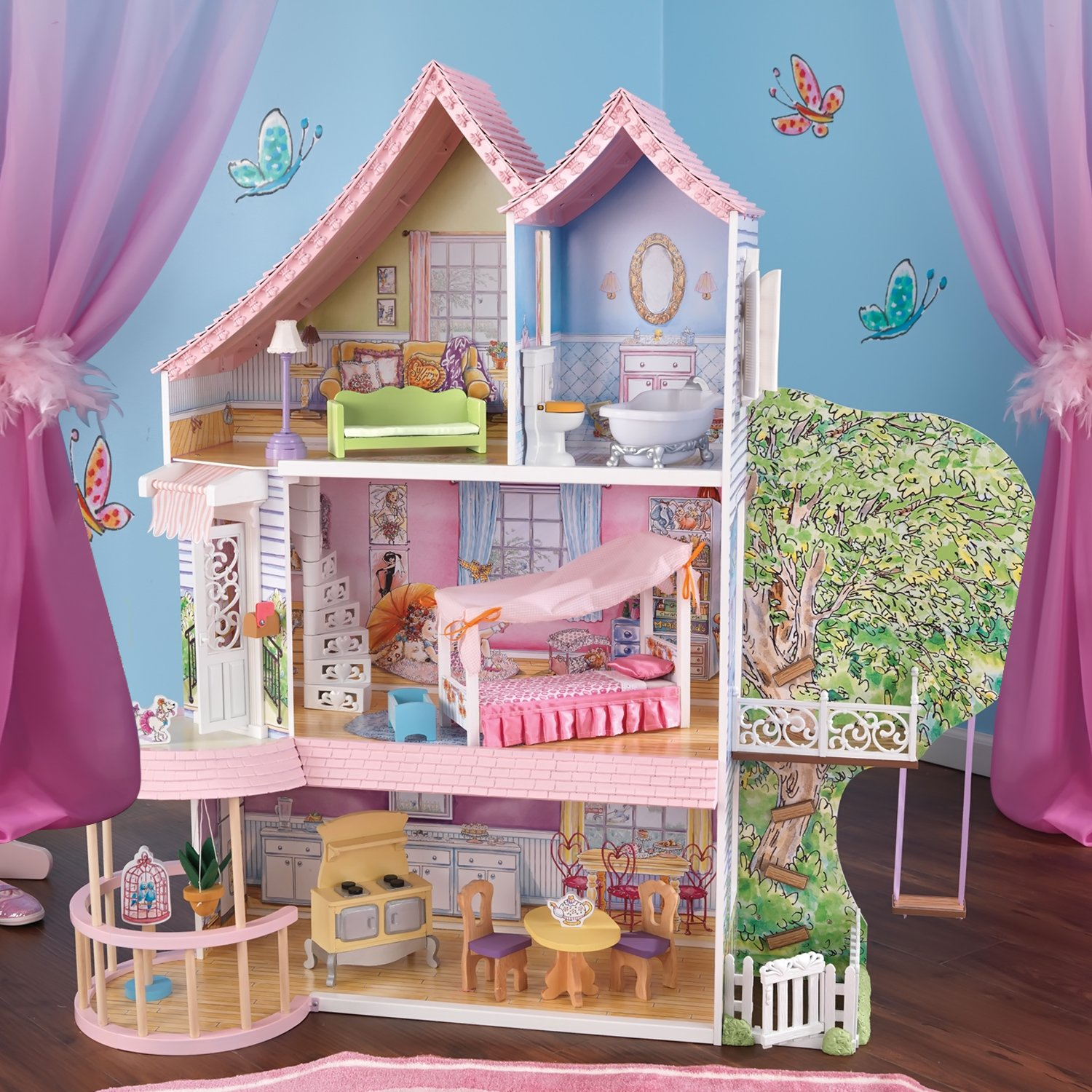 KidKraft Home Indoor Kids Room Decorative Fancy Nancy Dollhouse for up to 12 inch Tall dolls Play Set 15 Piece Furniture