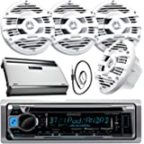 """New Kenwood Marine Bluetooth CD MP3 USB AUX iPod iPhone Radio Stereo Player With 4 X 6.5"""" Inch Kenwood Marine Audio Speakers 4 Channel 360 Watts Marine Amplifier And Enrock Marine 45"""" Antenna - Complete Marine Outdoor Audio Package (White)"""