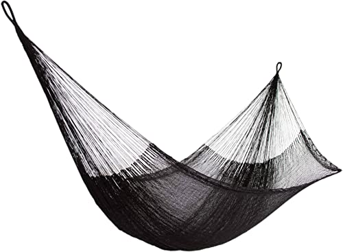 NOVICA Black Nylon Hand Woven Mayan Rope 2 Person XL Hammock with Hanging Accessories, Black Relaxation Double