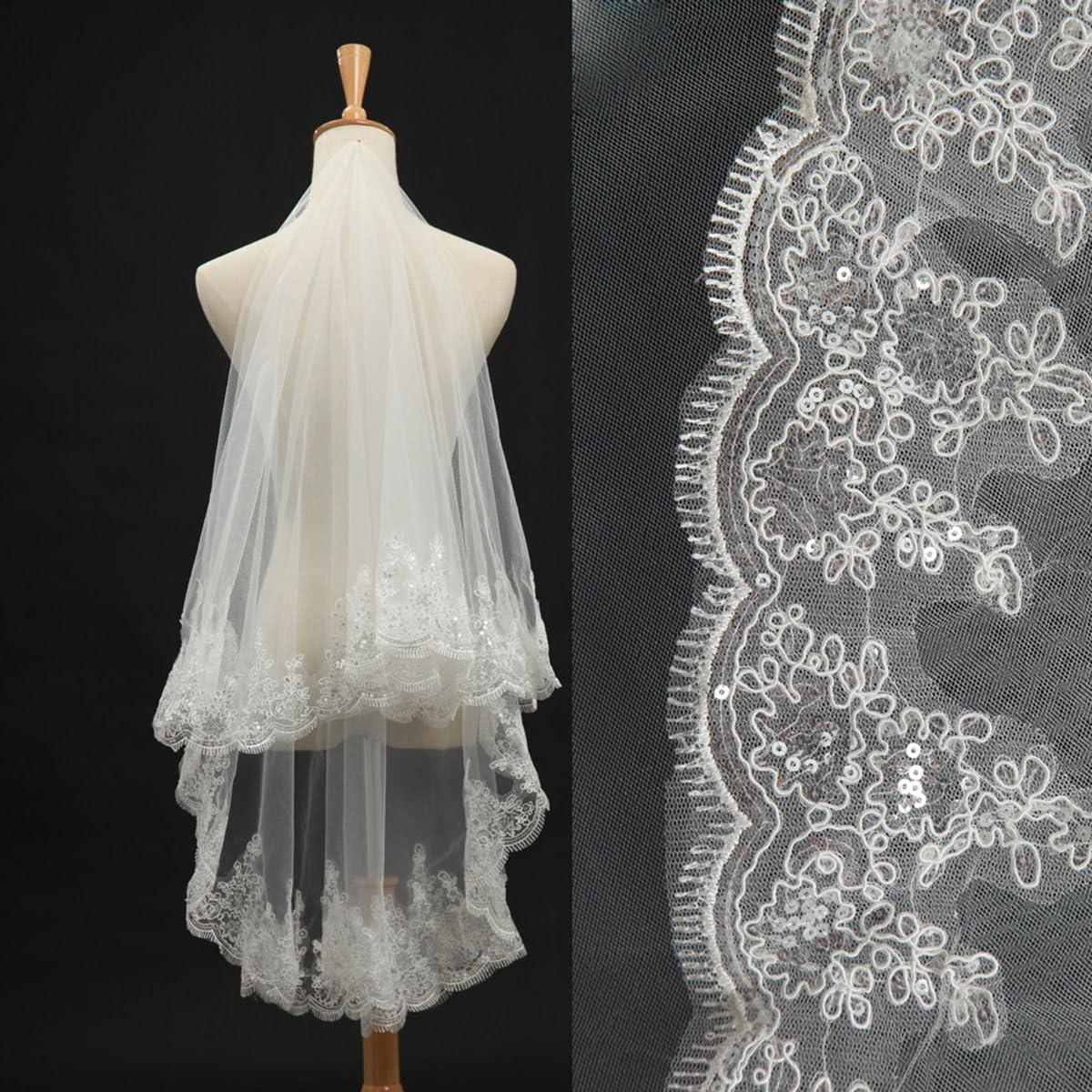 Udresses Short Soft Tulle Lace Edge Wedding Veils for Bride V64