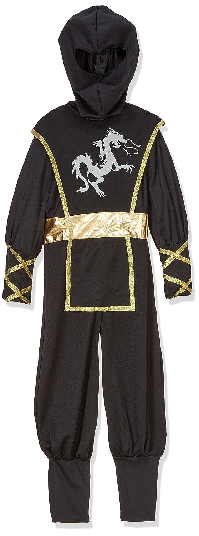 Cesar - Traje Ninja Disfraz Completo para niños de 5-7 años, 116 cm, color negro y oro (F516-002)