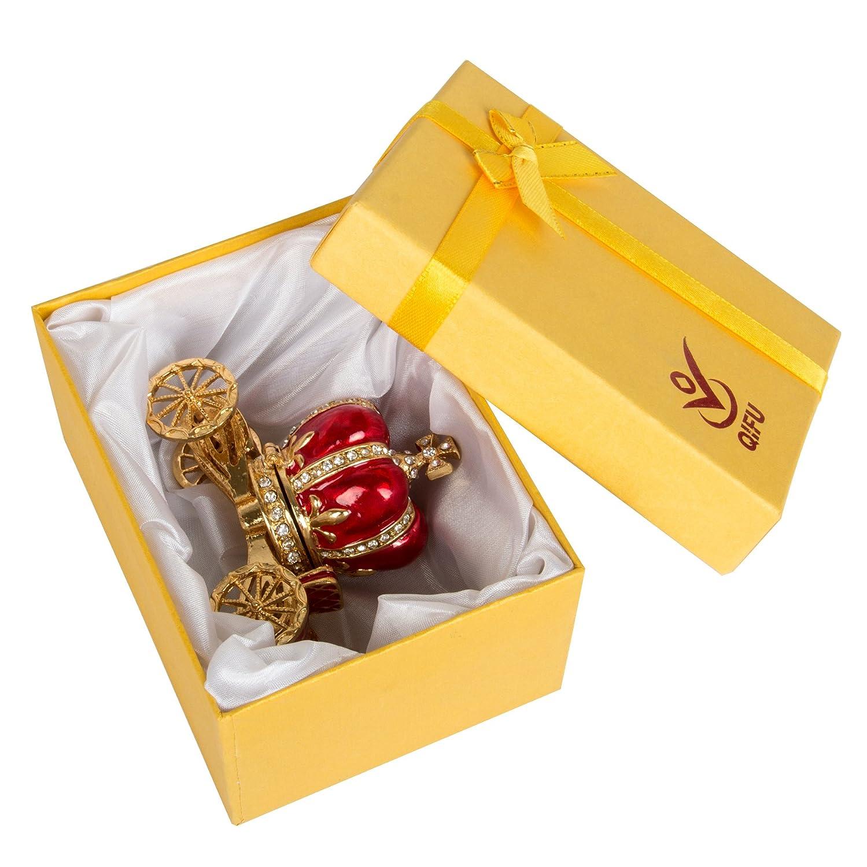QIFU-hand Painted smaltato rosso zucca Carriage incernierato gioielli Trinket box regalo unico per home decor