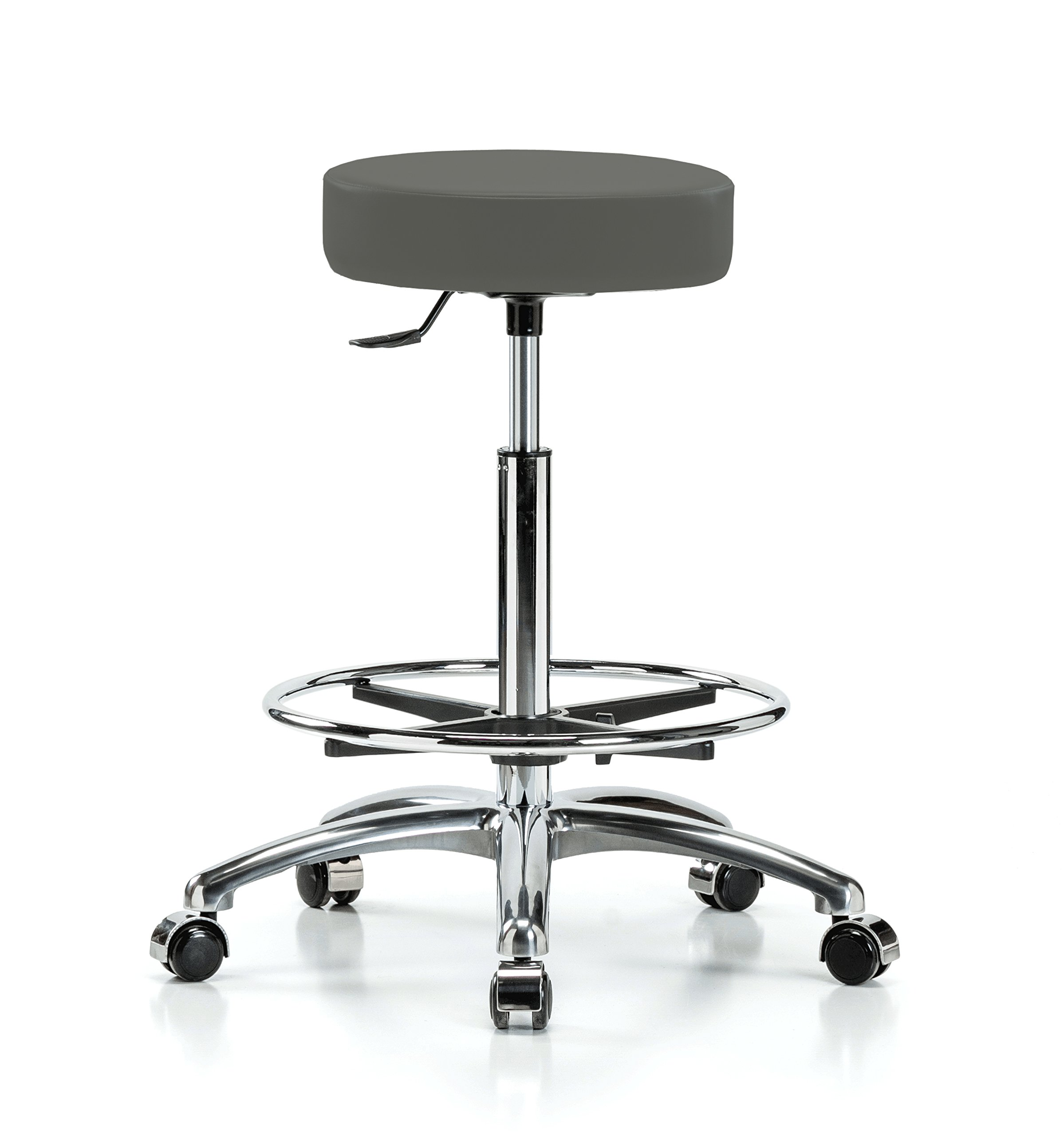 Perch Single Lever Adjustable Rolling Backless Swivel Stool in Chrome with Footring for Office Salon Home Garage or Work Shop 24'' - 34'' (Soft Floor Casters/Charcoal Vinyl)