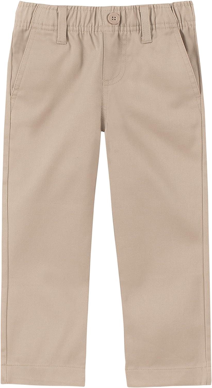 IZOD Boys' School Uniform Flat Front Twill Pants: Clothing