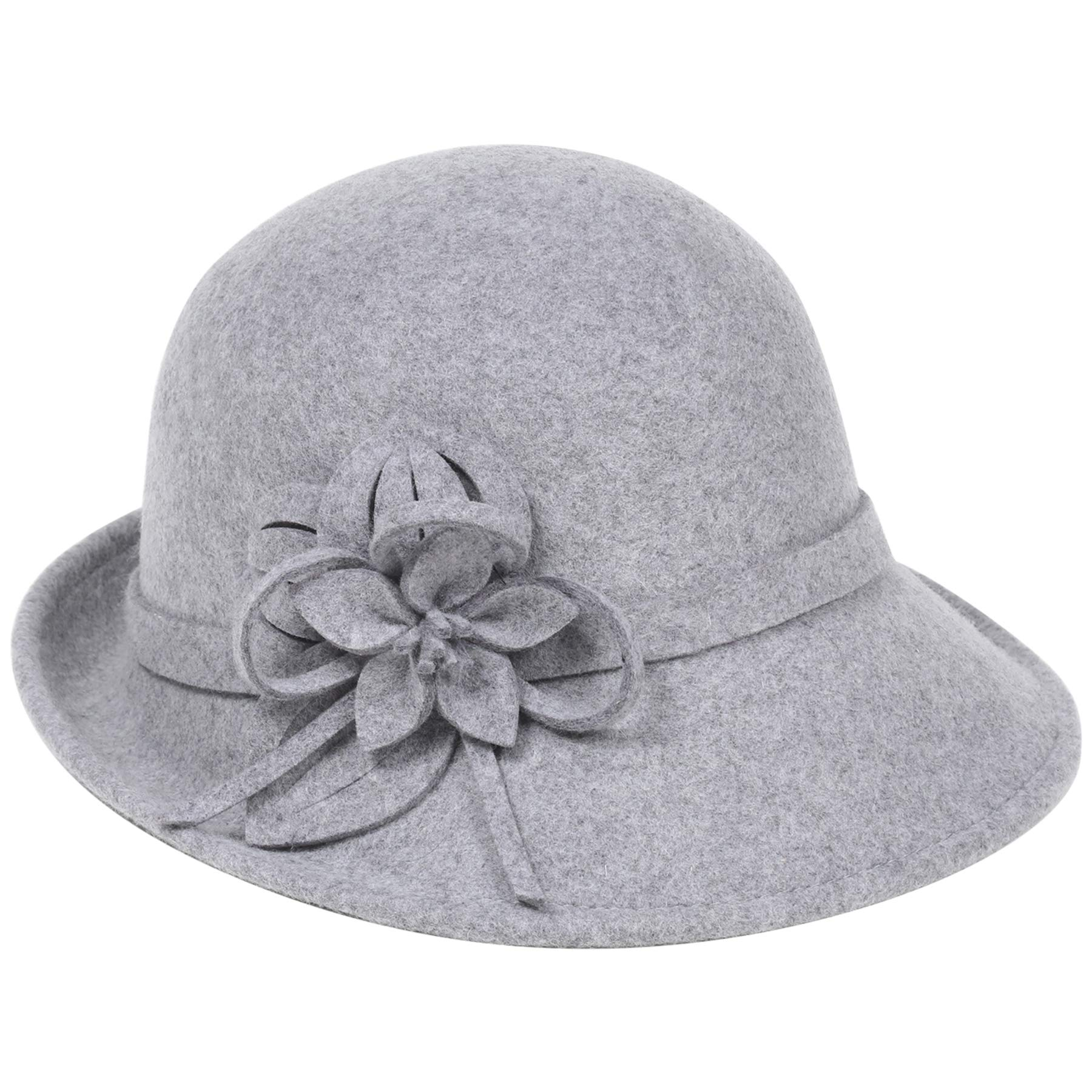 BABEYOND Womens 1920s Bucket Hat Winter Wool Crushable Bowler Hat Vintage Cloche Round Hat with Floral Accent (Grey)