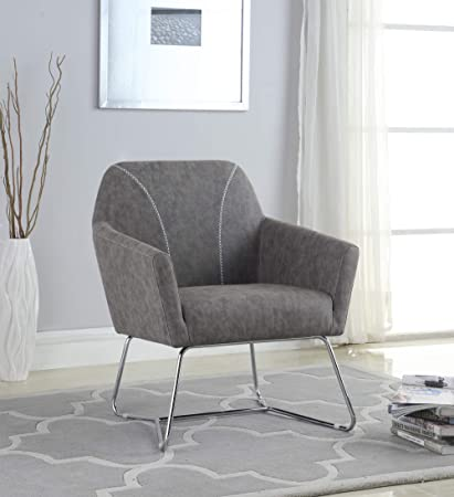 Astonishing Amazon Com Coaster Faux Leather Accent Chair In Gray And Cjindustries Chair Design For Home Cjindustriesco