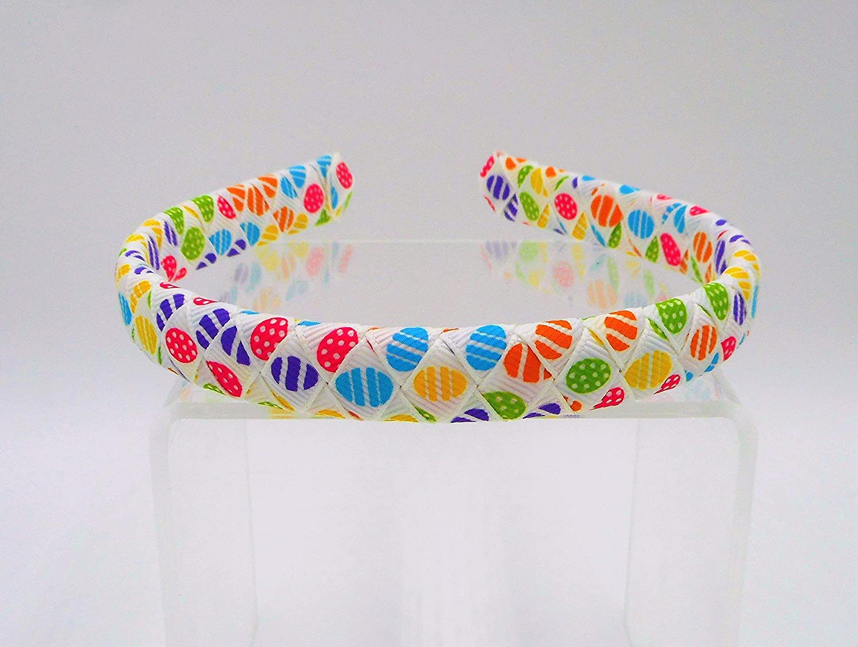 Easter Egg Ribbon Print Woven Braided Ribbon Headband (1/2 inch)