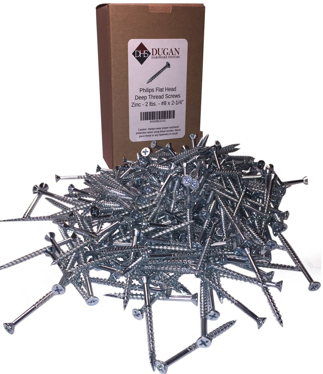 #8 x 2-1/4'' Flat Head Wood Screws - #2 Philips Drive - Countersinking Nibs - Auger Point - Deep Thread Design For Cabinets & All Interior Work - Zinc Plated - 2 Lb. Box (+- 272 pieces)