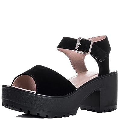 3633959b3b82 Platform Block Heel Sandals Shoes Black Suede Style Sz 3