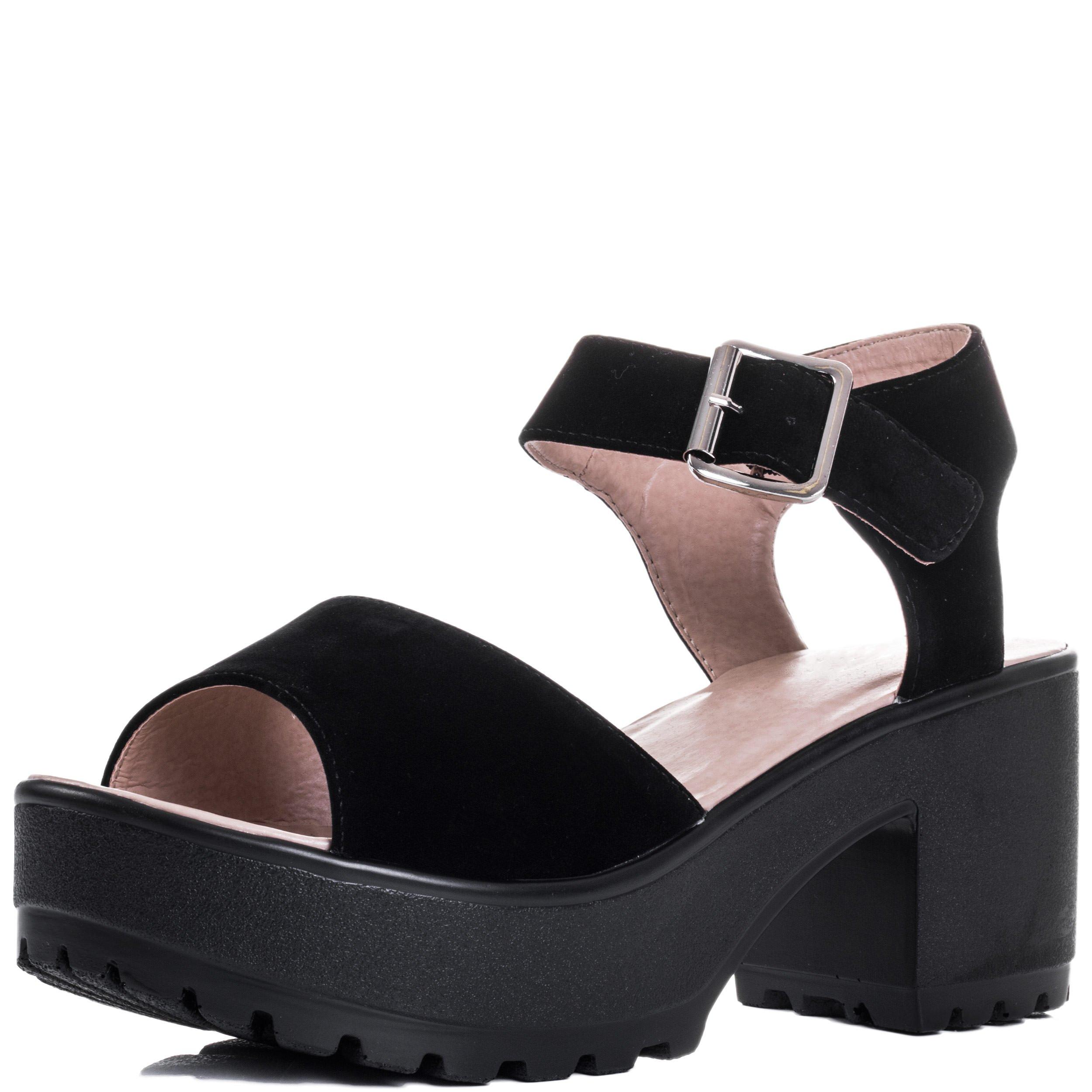 Spylovebuy Platform Block Heel Sandals Shoes Black Suede Style SZ 5