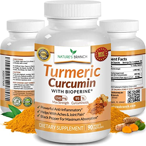 Extra Strength Turmeric Curcumin with BioPerine 1500mg Black Pepper, Joint Pain Relief Supplement, Inflammation Support, Made in USA Tumeric Extract Complex Pills with Organic Powder 90 Vegan Capsules