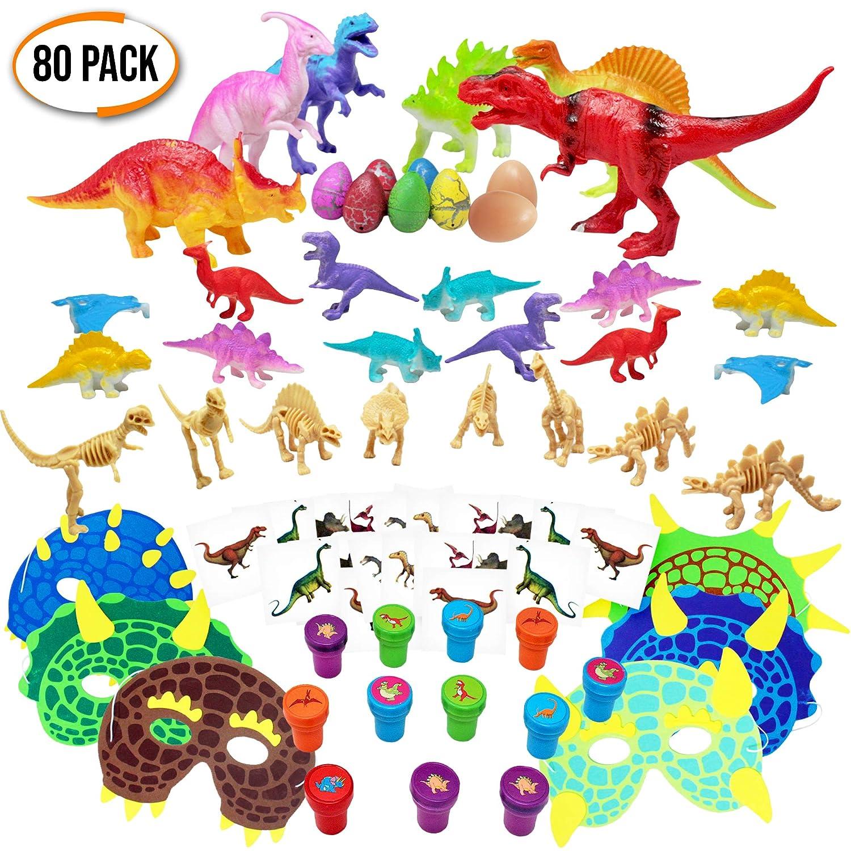 The Twiddlers Assortiment de 80 Jouets Dinosaures - Cadeau aux Invités pour Les Fêtes - Enfants Fêtes Thème des Dinosaures - Remplissage de Piñata, Sac Anniversaire, Petit Cadeaux, Bonbonniere