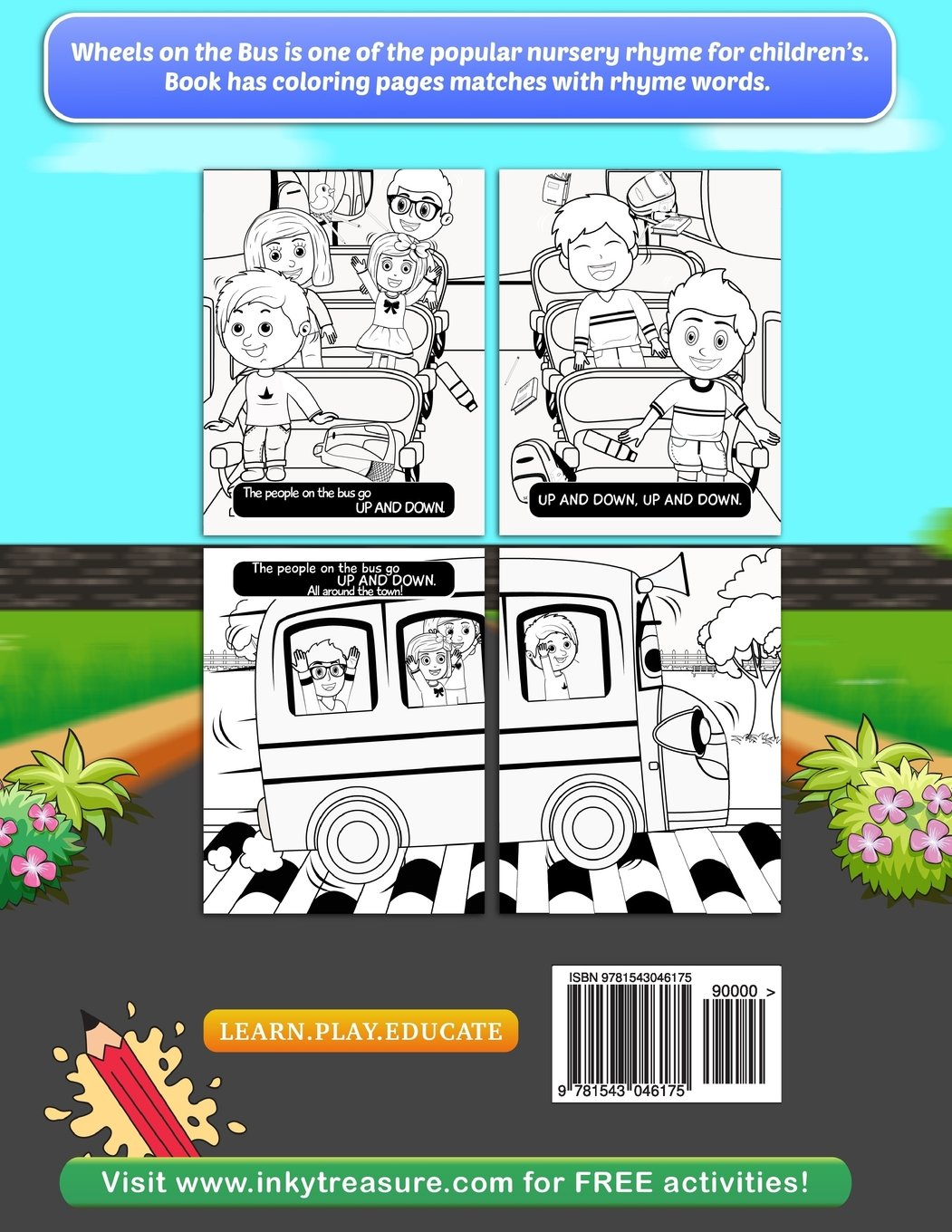 Wheels On The Bus Nursery Rhyme Story Coloring Book For Childrens Sachin Sachdeva 9781543046175 Amazon Books
