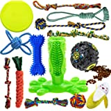 Dog Chew Toys for Puppies Teething, 14 Pack Dog Rope Toys Tug of War Dog Toy Bundle Toothbrush iq Treat Ball Squeaky…